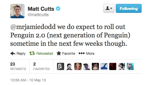 Matt Cutts Penguin 2.0 Tweet