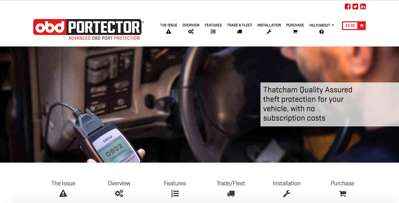 obdportector obd port security protection website screenshot