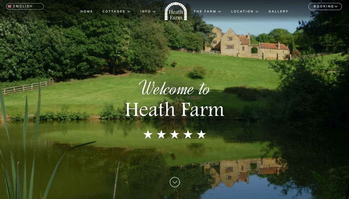 heath farm holiday cottages website