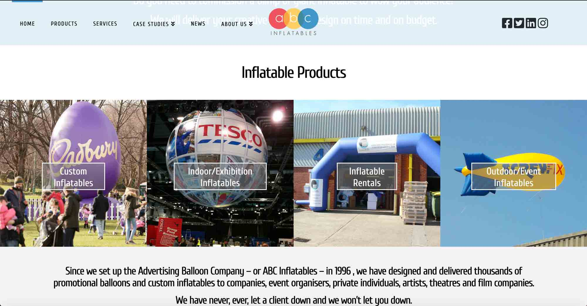 abc inflatables website front body