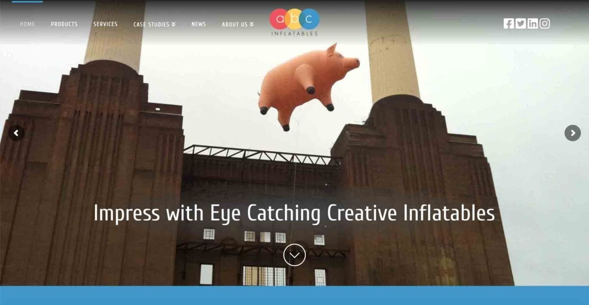 ABC Inflatables Website Homepage Header