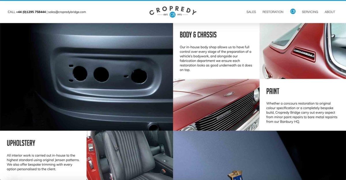 Copredy Bridge Garage website development - car restoration page design content layout